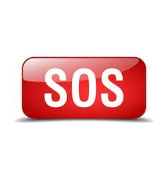 Sos red square 3d realistic isolated web button vector