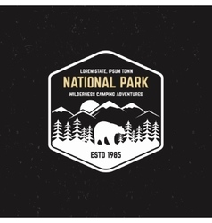 Stamp for national park outdoor camp tourism vector