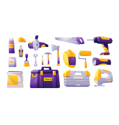 tools set hardware construction shop instruments vector image