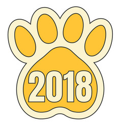 trail paws yellow dog symbol 2018 chinese calendar vector image