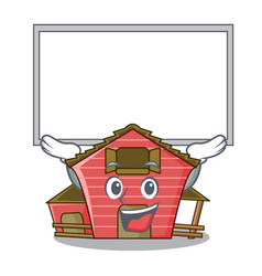Up board character red barn building with haystack vector