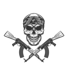 vintage monochrome bandit skull in bandana vector image