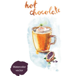 watercolor hot chocolate vector image