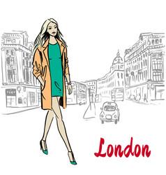 Woman walking in london vector