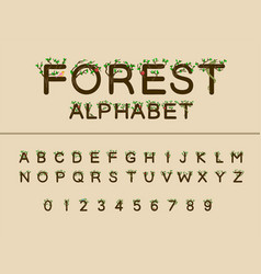 work forest trees green nature font uppercase vector image