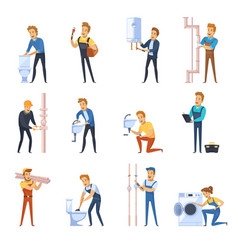 Working plumbers flat color icons set vector