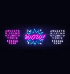 wow neon sign comic speech bubble vector image