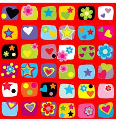 Wrapping paper design with flowers stars and vector image vector image