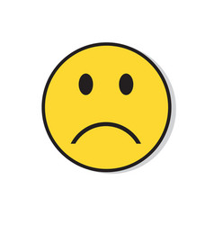 yellow sad face negative people emotion icon vector image