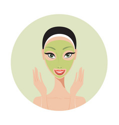 young beautiful woman applying face mask spa skin vector image