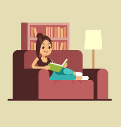 Young woman reading book on couch relaxing vector