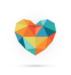 colorful polygon heart vector image