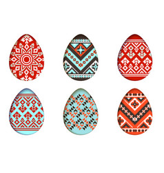 easter eggs set in paper cut style for vector image vector image