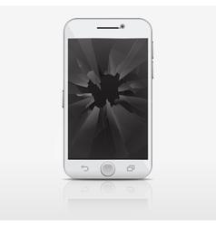 Broken glass screen of phone smartphone vector image