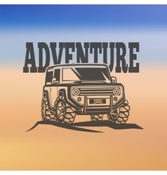 off-road suv car monochrome labels emblems vector image
