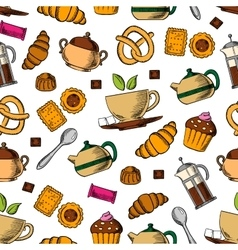 Retro seamless tea cups and sweets pattern vector image