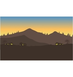 silhouette of house below the mountain vector image vector image