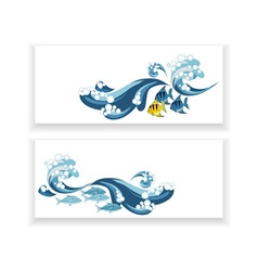 banners with wave and fish vector image