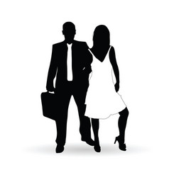 couple silhouette in black and white color vector image vector image