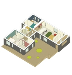 Isometric house inside vector image