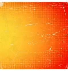 Old orange scratched card with halftone gradient vector image