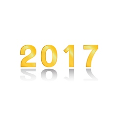 The 2017 gold on white background vector image vector image