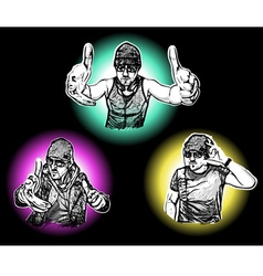 Three DJs vector image