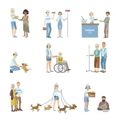 Volunteers Helping In Different Situations vector image vector image