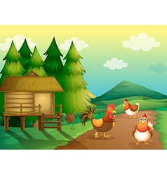 A farm with chickens and a native house vector image vector image