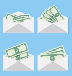 cash in envelope salary of set vector image