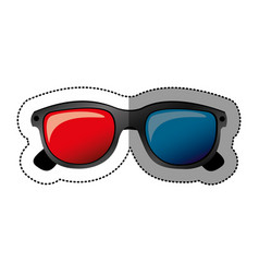 colorful sticker of 3d cinema glasses vector image