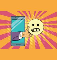 evil smile emoji emoticons in smartphone vector image vector image