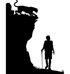 Lone hiker vector image vector image