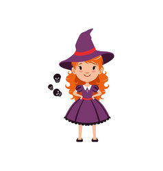red-haired girl witch wearing purple dress and hat vector image