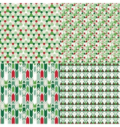 4 Christmas color different seamless patterns set vector