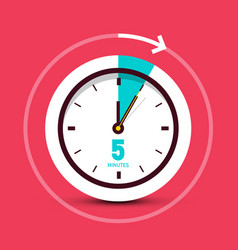 5 five minutes clock icon with arrow on red vector