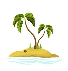 A palm tree on an island vector