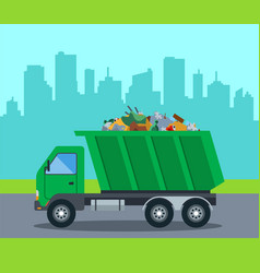 A truck takes out garbage from a city to a vector