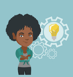 African woman with a business idea bulb in gear vector