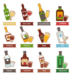 alcohol drinks bottles and cocktails glasses vector image