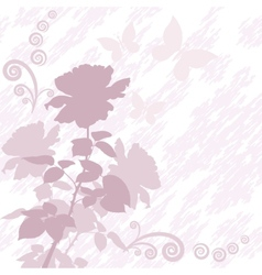 Background with flower rose and butterflies vector image