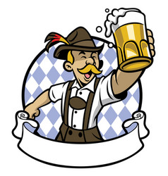 bavarian man celebrating oktoberfest vector image