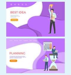 best idea web page template man planning analyzing vector image