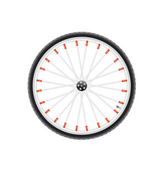 Bicycle wheel in silver dark and red design vector