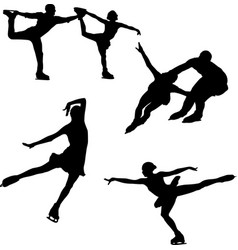 Black silhouette of figure skating on a white vector