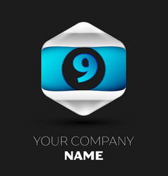 blue number nine logo in silver-blue hexagonal vector image