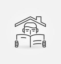 boy reading a book under house ro vector image