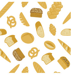 bread seamless pattern different types bread vector image