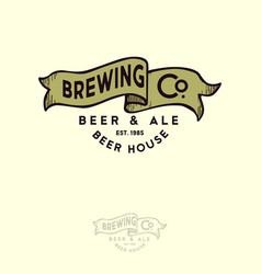 Brewing logo bub emblem ribbon letters craft beer vector