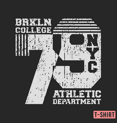 Brooklyn nyc college t-shirt textured stamp vector